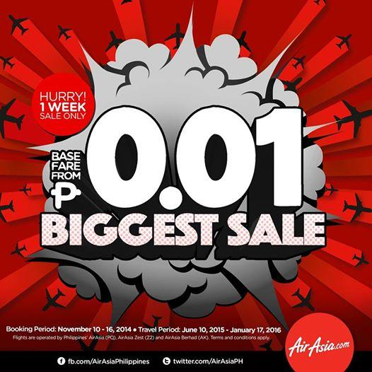 AirAsia Zest offers P0.01 seat sale